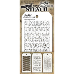 Tim Holtz Mini Layered Stencil Set 3/Pkg Set #8