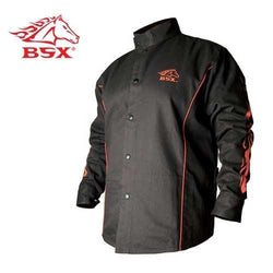 BSX BX9C Black W/ Red Flames Cotton Welding Jacket - 2X - aplusstorenz