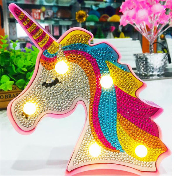 Lampe LED Broderie Diamant Licorne DIY -  My Loisirs Créatifs
