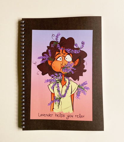 Lined Gray Notebook - Lavender