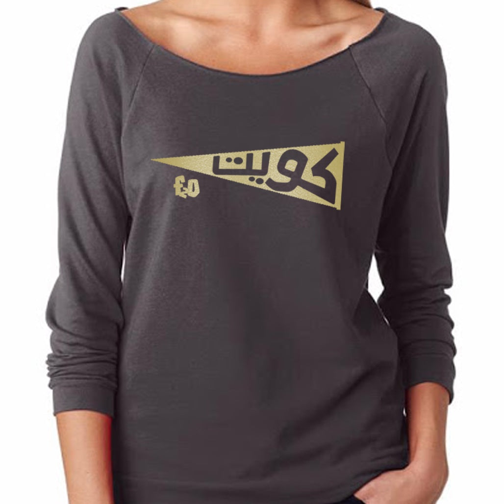 Kuwait 2020 - Women Dark Grey Long Sleeve - Gold Print