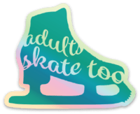 Adults Skate Too Skate Silhouette Sticker - Holographic