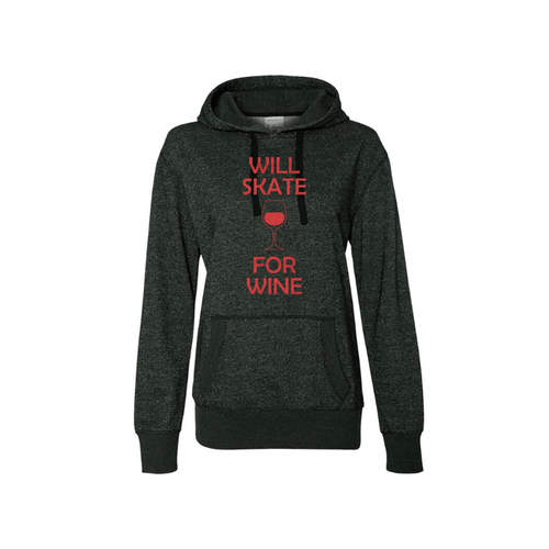 Will Skate For Wine Women's French Terry Glitter Hoodie