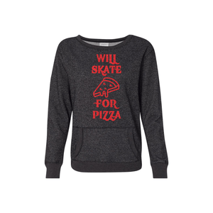 Will Skate For Pizza Women's Glitter French Terry Sweatshirt