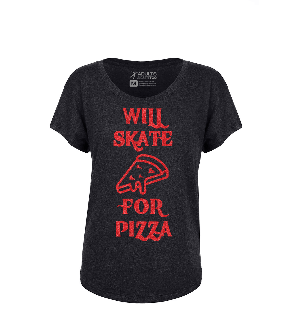 Will Skate For Pizza Women's Tri-Blend Dolman Tee