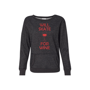 Will Skate For Wine Women's Glitter French Terry Sweatshirt