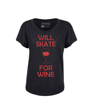 Will Skate For Wine Women's Tri-Blend Dolman Tee