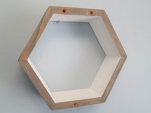 "Load image into Gallery viewer, Hexagon Shelf Single 16"", With Mid Shelves, Honeycomb Shelf, Floating Shelves, Geometric Shelves, Hexagon Shelves, Living Room Shelves"