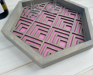 Coffee Table Tray, Wood Serving Tray, Modern Tray, Coffee Tray, Nightstand Decor, Tea Tray, Catch All Tray, Catch All, Trinket Tray, Pink