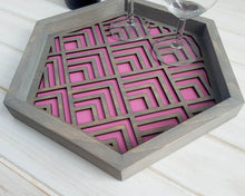 Load image into Gallery viewer, Coffee Table Tray, Wood Serving Tray, Modern Tray, Coffee Tray, Nightstand Decor, Tea Tray, Catch All Tray, Catch All, Trinket Tray, Pink