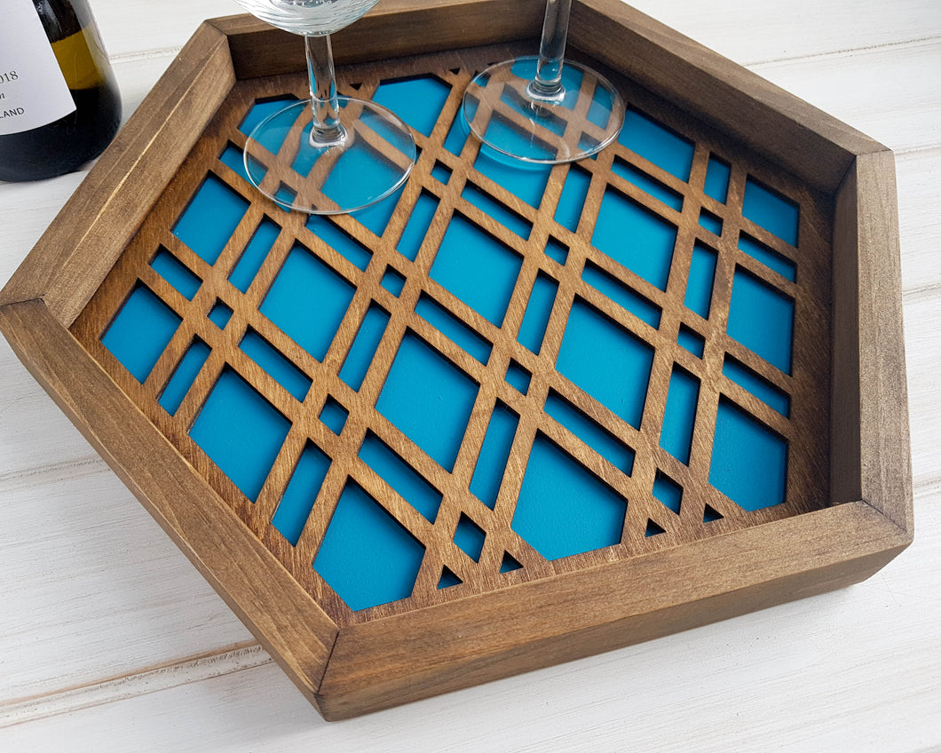 Coffee Table Tray, Wood Serving Tray, Modern Tray, Coffee Tray, Nightstand Decor, Tea Tray, Catch All Tray, Catch All, Trinket Tray, Teal