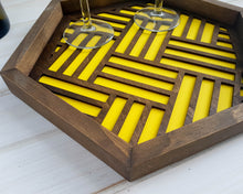 Load image into Gallery viewer, Coffee Table Tray- Wood Serving Tray- Modern Tray - Coffee Tray -Nightstand Decor- Tea Tray- Catch All Tray- Catch All- Trinket Tray- Yellow