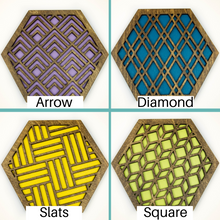 Load image into Gallery viewer, Modern Trivets, Custom Trivet Set, Colorful Trivet, Trivet For Plates, Dining Table Trivet, Unique Trivet, Geometric Houseware, Trivet Wood, Design walnut