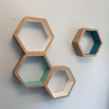 Load image into Gallery viewer, Hexagon Shelves Set of 4, Decorative Shelves, Floating Shelves, Bedroom Shelves, White Shelves, Modern Shelves,  Living Room Shelves