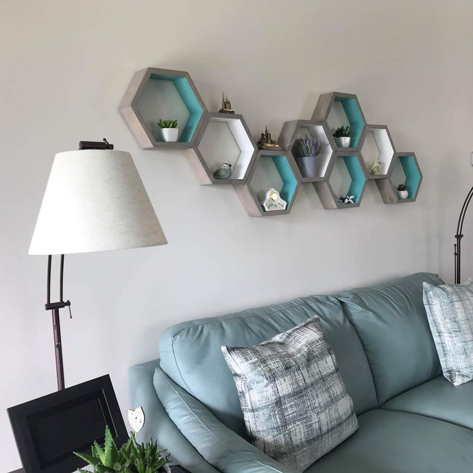 Hexagon Shelves Set of 8, Floating Shelves, Geometric Shelves, Hexagon Shelf, Modern Shelves,  Living Room Shelves, Office Decor Shelves