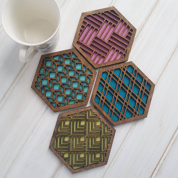 Unique Modern Coaster, Design Your Own Set, Colorful Coasters, Single or Sets, Geometric Coasters, Housewarming Gift, Teal Coaster, design walnut