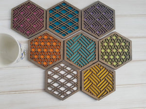 Unique Modern Coaster, Colorful Coasters, Set of Eight, Geometric Coasters, Wood Coaster Set, Coffer Table Coaster, Hexagon Coaster, grey all