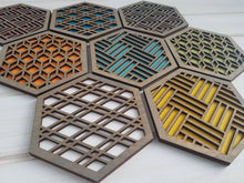 Load image into Gallery viewer, Unique Modern Coaster, Colorful Coasters, Set of Eight, Geometric Coasters, Wood Coaster Set, Coffer Table Coaster, Hexagon Coaster, grey all
