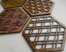 Load image into Gallery viewer, Unique Modern Coaster, Design Your Own Set, Colorful Coasters, Single or Sets, Geometric Coasters, Housewarming Gift, Teal Coaster, design walnut