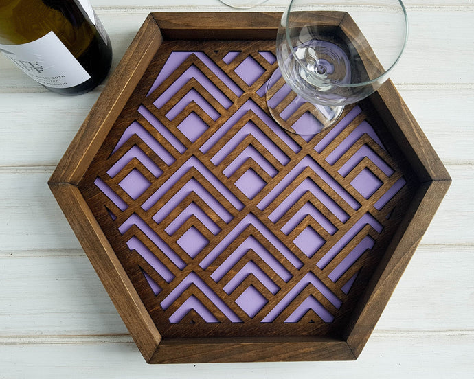 Coffee Table Tray- Wood Serving Tray- Modern Tray - Coffee Tray -Nightstand Decor- Tea Tray- Catch All Tray- Catch All- Trinket Tray- Purple