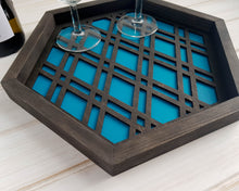 Load image into Gallery viewer, Coffee Table Tray, Wood Serving Tray, Modern Tray, Coffee Tray, Nightstand Decor, Tea Tray, Catch All Tray, Catch All, Trinket Tray, Teal