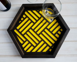 Coffee Table Tray- Wood Serving Tray- Modern Tray - Coffee Tray -Nightstand Decor- Tea Tray- Catch All Tray- Catch All- Trinket Tray- Yellow
