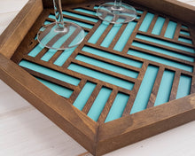 Load image into Gallery viewer, Coffee Table Tray, Wood Serving Tray,Modern Tray, Coffee Tray, Nightstand Decor, Catch All Tray, Catch All, Trinket Tray, Light Teal
