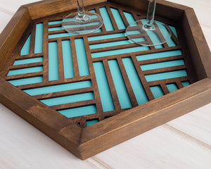 Coffee Table Tray, Wood Serving Tray,Modern Tray, Coffee Tray, Nightstand Decor, Catch All Tray, Catch All, Trinket Tray, Light Teal