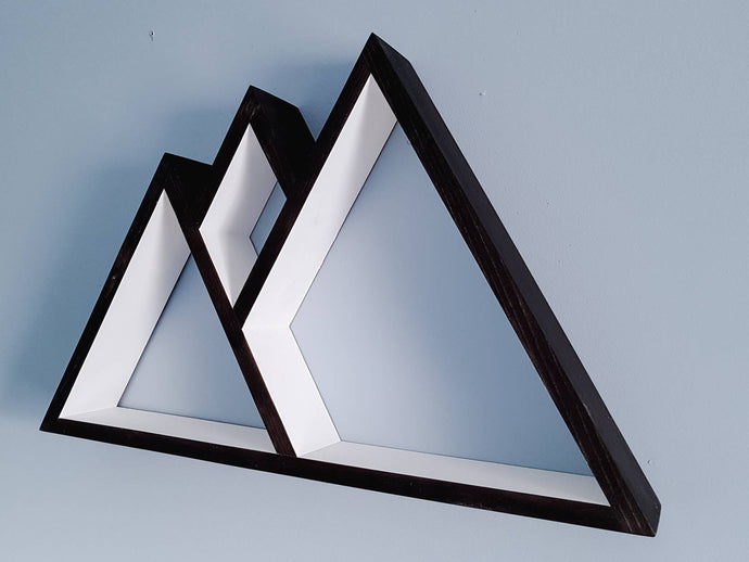 Mountain Shelf, Floating Shelf, Geometric Shelves, Mountain Shelf Decor, Wood Mountain Shelf, Mountain Shelves, White Shelves, Black Shelves