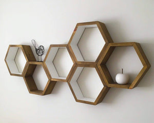 Hexagon Shelves Set of 6, Bedroom Shelves, Floating Shelves, Office Shelves, Decorative Shelves, Modern Shelves,  Living Room Shelves