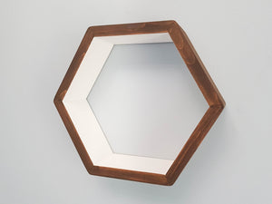 "Hexagon Shelf Single 16"", With Mid Shelf, Honeycomb Shelf, Floating Shelves, Geometric Shelves, Hexagon Shelves, Living Room Shelves"