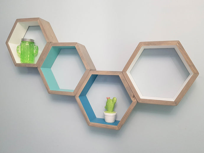Hexagon Shelves Set of 4, Decorative Shelves, Floating Shelves, Bedroom Shelves, White Shelves, Modern Shelves,  Living Room Shelves