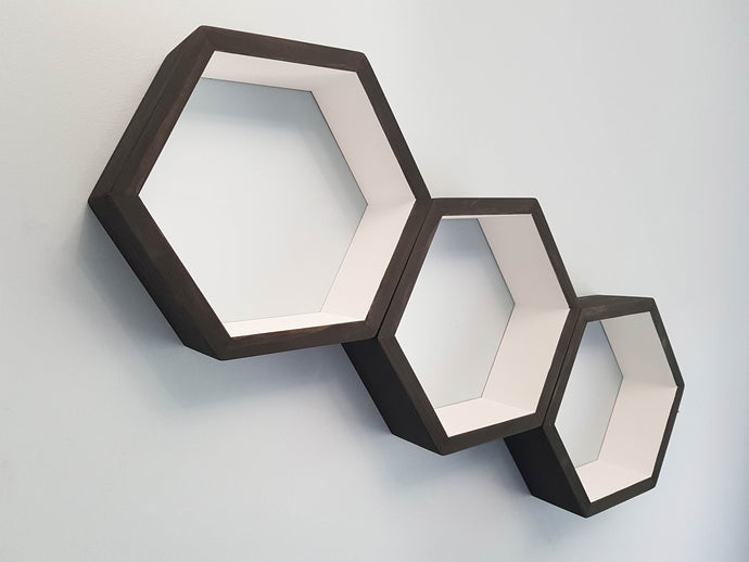 Hexagon Shelves Set of 3, Honeycomb Shelves, Floating Shelves, Geometric Shelves, Hexagon Shelf, Modern Shelves,  Living Room Shelves