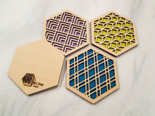 Load image into Gallery viewer, Hexagon Coaster, Fun Coaster, Modern Geometric Coaster, Cool Unique Coaster, Wood Coaster Set, Coffer Table Coaster, Colorful Coaster, Grey cool