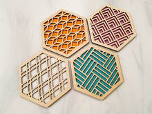 Load image into Gallery viewer, Unique Modern Coaster, Design Your Own Set, Colorful Coasters, Single or Sets, Geometric Coasters, Housewarming Gift, Teal Coasters, design natural