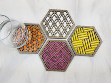 Load image into Gallery viewer, Unique Modern Coaster, Design Your Own Set, Colorful Coasters, Single or Sets, Geometric Coasters, Housewarming Gift, Teal Coaster, design grey