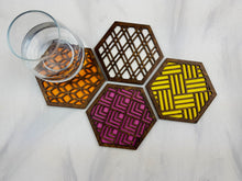 Load image into Gallery viewer, Hexagon Coaster, Fun Coaster, Modern Coaster, Geometric Coaster, Cool Unique Coaster, Wood Coaster Set, Coffer Table Coaster, walnut warm