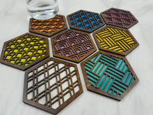 Load image into Gallery viewer, Unique Modern Coaster, Colorful Coasters, Set of Eight, Geometric Coasters, Wood Coaster Set, Coffer Table Coaster, Hexagon Coaster, walnut all