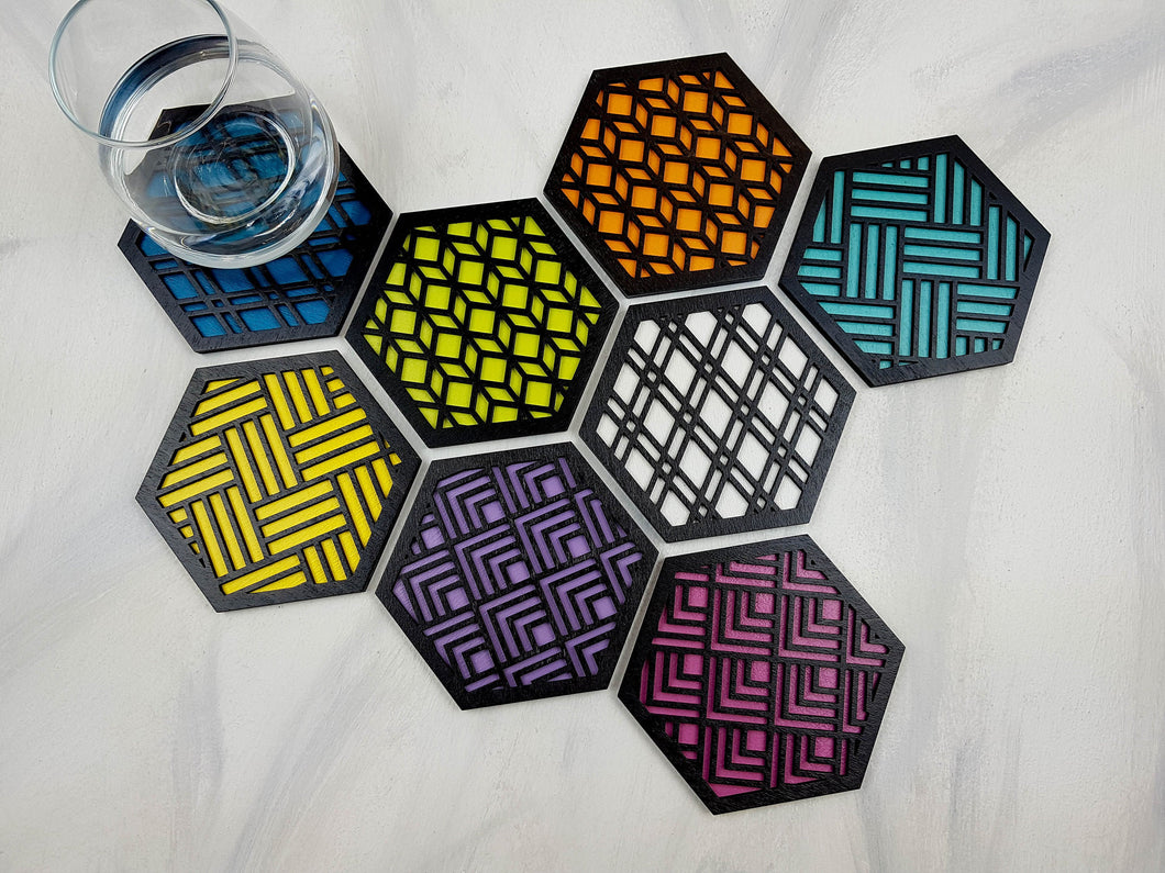Unique Modern Coaster, Colorful Coasters, Set of Eight, Geometric Coasters, Wood Coaster Set, Coffer Table Coaster, Hexagon Coaster, black all