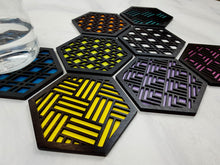 Load image into Gallery viewer, Unique Modern Coaster, Colorful Coasters, Set of Eight, Geometric Coasters, Wood Coaster Set, Coffer Table Coaster, Hexagon Coaster, black all