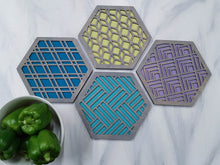 Load image into Gallery viewer, Unique Trivets, Colorful Trivet, Trivet For Plates, Dining Table Trivet, Modern Trivet, Geometric Houseware, Trivet Wood, Kitchen Trivet, grey cool
