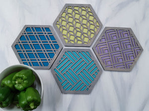 Unique Trivets, Colorful Trivet, Trivet For Plates, Dining Table Trivet, Modern Trivet, Geometric Houseware, Trivet Wood, Kitchen Trivet, grey cool