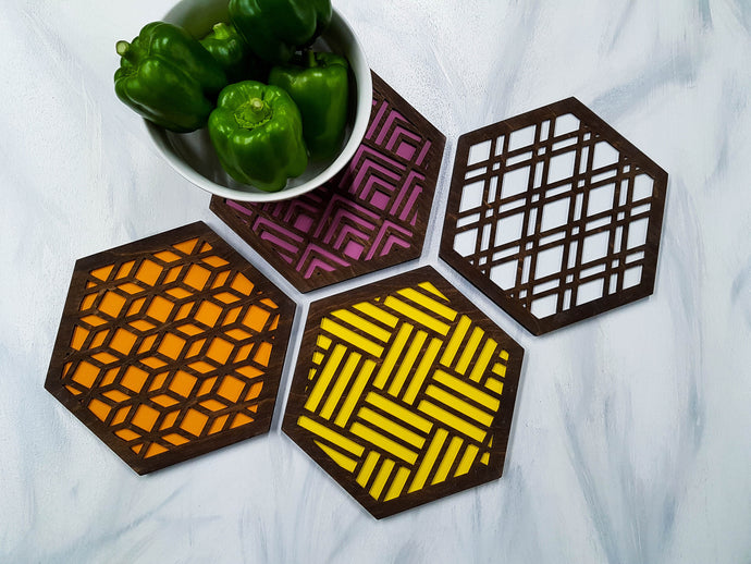 Unique Trivets, Colorful Trivet, Trivet For Plates, Dining Table Trivet, Modern Trivet, Geometric Houseware, Trivet Wood, Kitchen Trivet, walnut warm