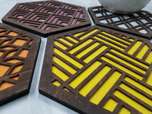 Load image into Gallery viewer, Unique Trivets, Colorful Trivet, Trivet For Plates, Dining Table Trivet, Modern Trivet, Geometric Houseware, Trivet Wood, Kitchen Trivet, walnut warm