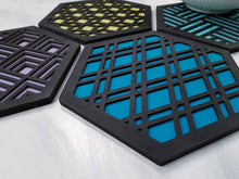 Load image into Gallery viewer, Unique Trivets, Colorful Trivet, Trivet For Plates, Dining Table Trivet, Modern Trivet, Geometric Houseware, Trivet Wood, Kitchen Trivet, black cool