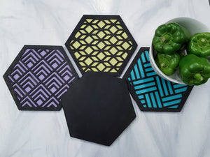 Unique Trivets, Colorful Trivet, Trivet For Plates, Dining Table Trivet, Modern Trivet, Geometric Houseware, Trivet Wood, Kitchen Trivet, black cool
