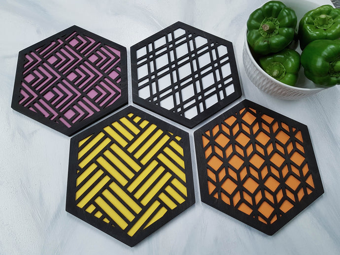 Unique Trivets, Colorful Trivet, Trivet For Plates, Dining Table Trivet, Modern Trivet, Geometric Houseware, Trivet Wood, Kitchen Trivet, black warm
