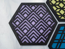 Load image into Gallery viewer, Modern Trivets, Custom Trivet Set, Colorful Trivet, Trivet For Plates, Dining Table Trivet, Unique Trivet, Geometric Houseware, Trivet Wood, design black
