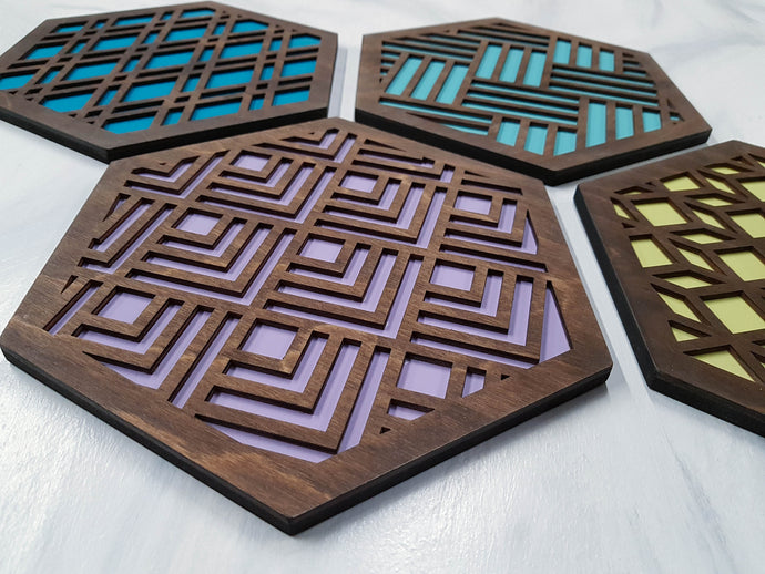 Modern Trivets, Custom Trivet Set, Colorful Trivet, Trivet For Plates, Dining Table Trivet, Unique Trivet, Geometric Houseware, Trivet Wood, Design walnut