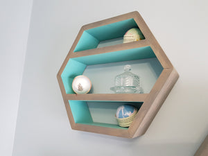 "Hexagon Shelf Single 16"", With Mid Shelves, Honeycomb Shelf, Floating Shelves, Geometric Shelves, Hexagon Shelves, Living Room Shelves"